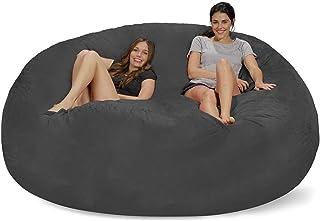Gigante Frijol Suave sillón Cubierta de la Bolsa, Cubierta de sofá Perezosa Ante, cómoda Cubierta Gigante, Relax tapizados Que Viven Sala de Suministros (sin Relleno) (Color : Dark Gray)
