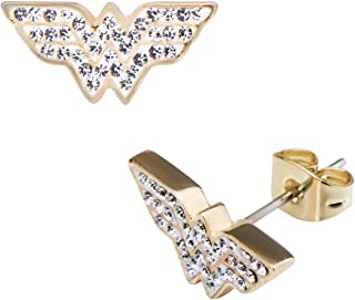 Women's Wonder Woman Gold Plated Logo with Clear Gem Stud Earrings, One Size