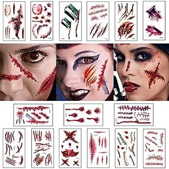 Moomkey Halloween Temporary Scar Realistic Tattoo Stickers