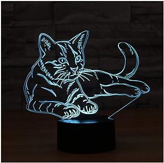 Luz nocturna 3D ilusión lámpara LED luces gato 16 colores degradado USB táctil control remoto decoraciones regalos de cumpleaños para niños 3D luces de ilusión óptica
