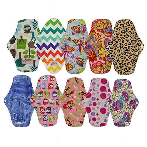 OHBABYKA Bambus wiederverwendbare Damenbinden Pads / Tuch Menstruation Pads für Frauen, eine Mini-Tasche, (S, 10Pcs-bunt)