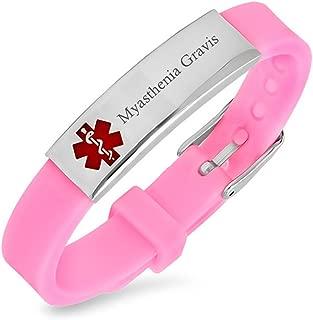 Comfybuy CF Men Women's Custmoized Medical Alert Myasthenia Gravis Awareness ID Silicon Bracelet Identification Wristband Bangle Emergency SOS Save for Wife,Husband,Grandpa,Grandma,Free Engraving