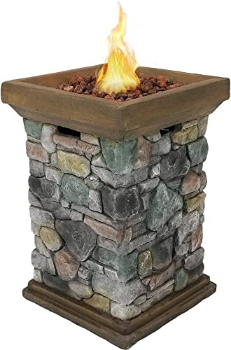 lowest Sunnydaze Propane Fire Pit Column lowest - Outdoor Gas Firepit for Outside Patio & Deck popular with Cast Rock Design - Lava Rocks, Waterproof Cover, and Steel Burner Included - 30 Inch Tall outlet online sale