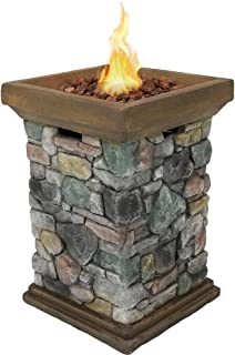 Sunnydaze Propane Fire Pit Column - Outdoor Gas Firepit for Outside Patio & Deck with Cast Rock Design - Lava Rocks, Waterproof Cover, and Steel Burner Included - 30 Inch Tall