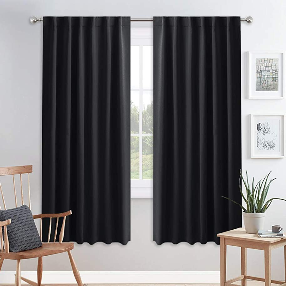 PONY DANCE Blackout Curtain Drapes - Window Treatments Curtains Back Tab Thermal Insulated Draperies Set Light Block Home Decor, 52 Inch Wide by 72 Drop, Black, 1 Pair