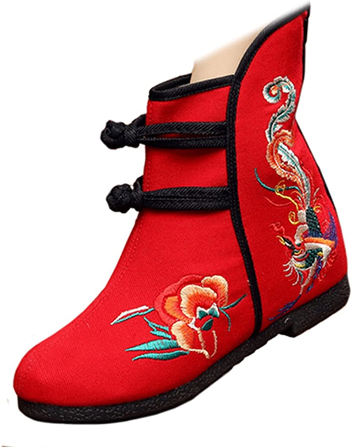 Shenghuajie Vintage Beijing Cloth shoes Embroidered Boots 12-01 red