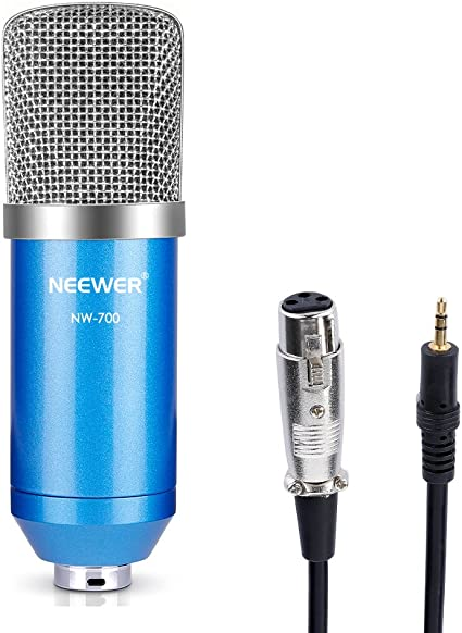 Neewer NW-700 Professional Studio Broadcasting & Recording Condenser Microphone Set Including: (1) NW-700 Condenser Microphone + (1) Ball-type Anti-wind Foam Cap + (1) Microphone Audio Cable (Blue)