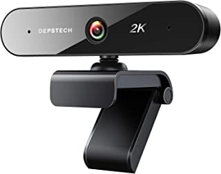Webcam with Microphone, DEPSTECH 2K QHD USB Web Camera with Auto Light Correction, Desktop Laptop Computer Camera Streamin...