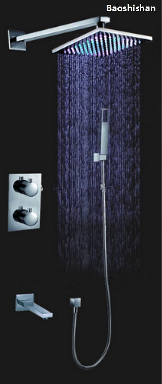 Thermostat-LED-Duschset mit Duschkopf in 7 Farben und massiver Messing-Grünckter Auslauf