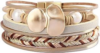 Jeilwiy جلدية متعددة الطبقات أساور التفاف اليدوية الإسورة الخرزة مجوهرات بوهيمية هدايا