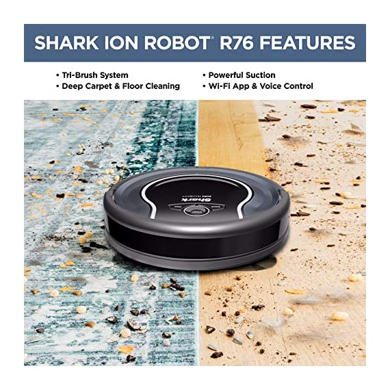Shark ion with wi-fi robot vacuum qt 2 three brush types. One powerful clean: tri-brush system combines side brushes, channel brushes, and a multi-surface brushroll to handle all debris on all surfaces. Completely integrated in your home: shark ion robot senses ledges and stairs, avoids damaging furniture and walls, and maneuvers around potential stuck situations, truly knowing your home. Clean from your phone: sharkclean app lets you start and stop cleaning and schedule your robot to clean whenever you want.