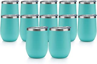 TDYDDYU 12 Pack 12 OZ Stainless Steel Wine Tumbler with Lid,Wine Glass Tumbler Double Wall Vacuum Insulated Travel Tumbler...