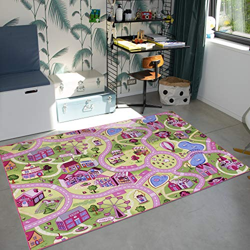 Alfombra de juego para niños de 140 x 200 cm, alfombra para niños y niñas, lavable, fácil de limpiar, con respaldo antideslizante, Sweet Town