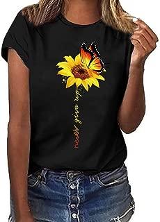 Severkill Women T-Shirt Casual Summer Short Sleeve Tee Sunflower Print Loose Fit Blouse Tops