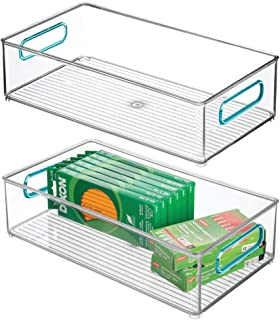 """$21 » mDesign Plastic Stackable Home, Office Storage Bin, Desk and Drawer Organizer Tote with Handles for Storing Gel Pens, Erasers, Tape, Pens, Pencils, Highlighters, Markers - 8"""" Wide, 2 Pack - Clear/Blue"""