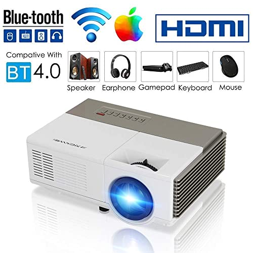 Smart Bluetooth WiFi Wireless Mini Projector LED LCD 2800 Lumen HDMI USB VGA Built-in Speaker Support 1080p HD Airplay Screen Mirror, Portable Video Projector Home Theater for Gaming Basement Outdoor