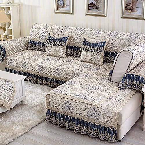 KENEL Easy-Going Sofa Slipcover, Boy's Girl's Bedroom Sofa Cover, European Style with Lace(Only 1 Piece/Not All Set)-Dark Blue_90*240cm