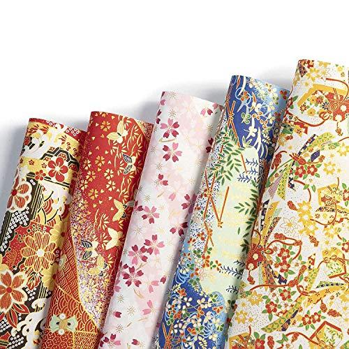 Diealles Shine 5 Hojas Washi Papel de Regalo Infantil, Diseños Surtidos De Papel De Envoltura De Regalo para Aniversarios, Cumpleaños, Bodas, 42x28.5cm