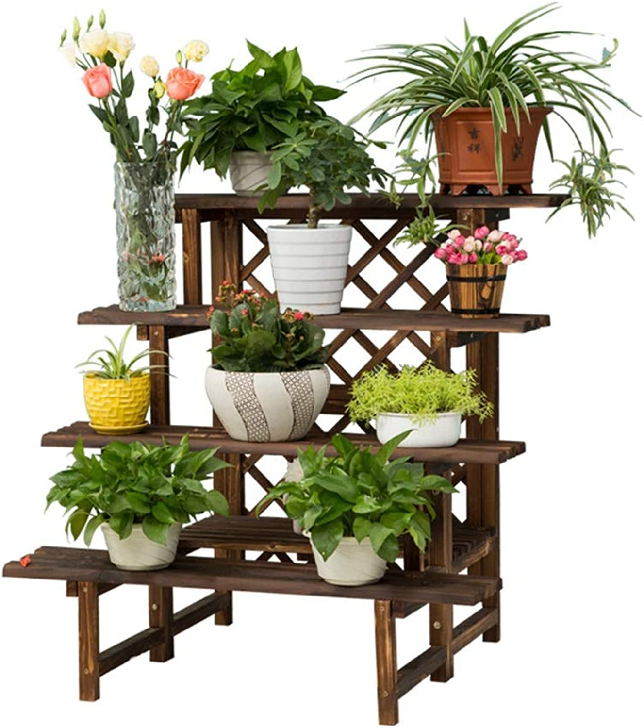C-J-Xin Creative Flower Stand, Shelf Antiseptic Thicken Solid Wood Multi-Layer Space Living Room Bedroom Balcony Multifunction Plant Flower Stand (Size   90  80  90cm)