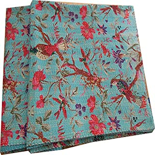 Labhanshi Sari Indian Quilt -Kantha Quilt Quilted Bedspreads,throws,ralli,gudari Handmade Tapestery Reversible Bedding
