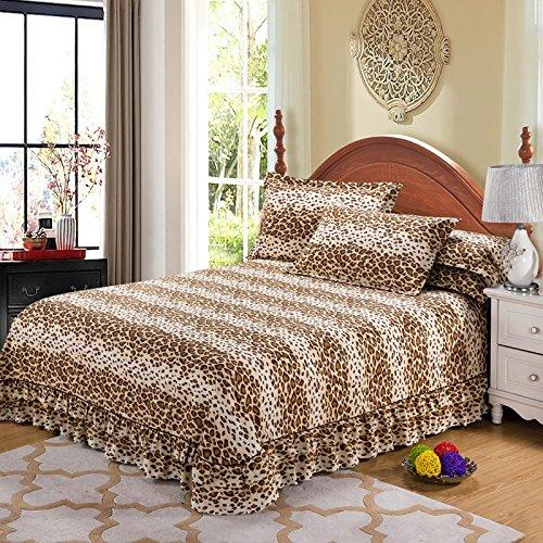 AaaSue - Funda de edredón Acolchada de algodón Suave y cálido para Cama, Falda de Cama, Estampado de Leopardo, 180 * 200cm