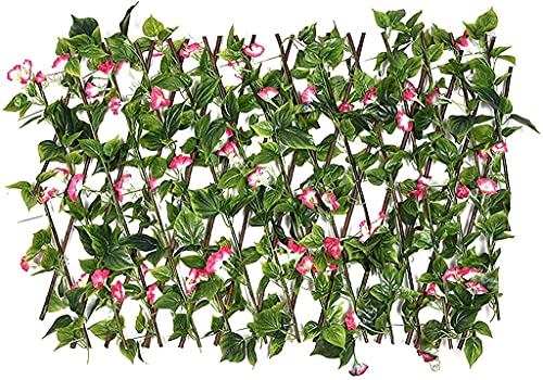 Garden Courtyard Decoration Guardrail,Trellis With Artificial Leaves,Telescopic Simulation Fence,Flowers Wooden Fence Telescopic Fence,Expandable Artificial Fence Decorative/70cm/27.56in fake plants a