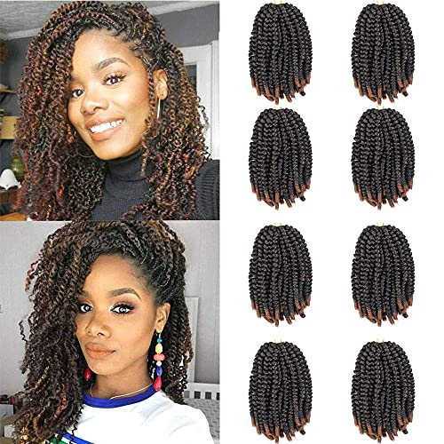 8 Pack Spring Twist Crochet Hair Ombre Bomb Twist Crochet Braids 8 Inch Fluffy Synthetic Braiding Hair Extensions 60g/pack (T1B/30)