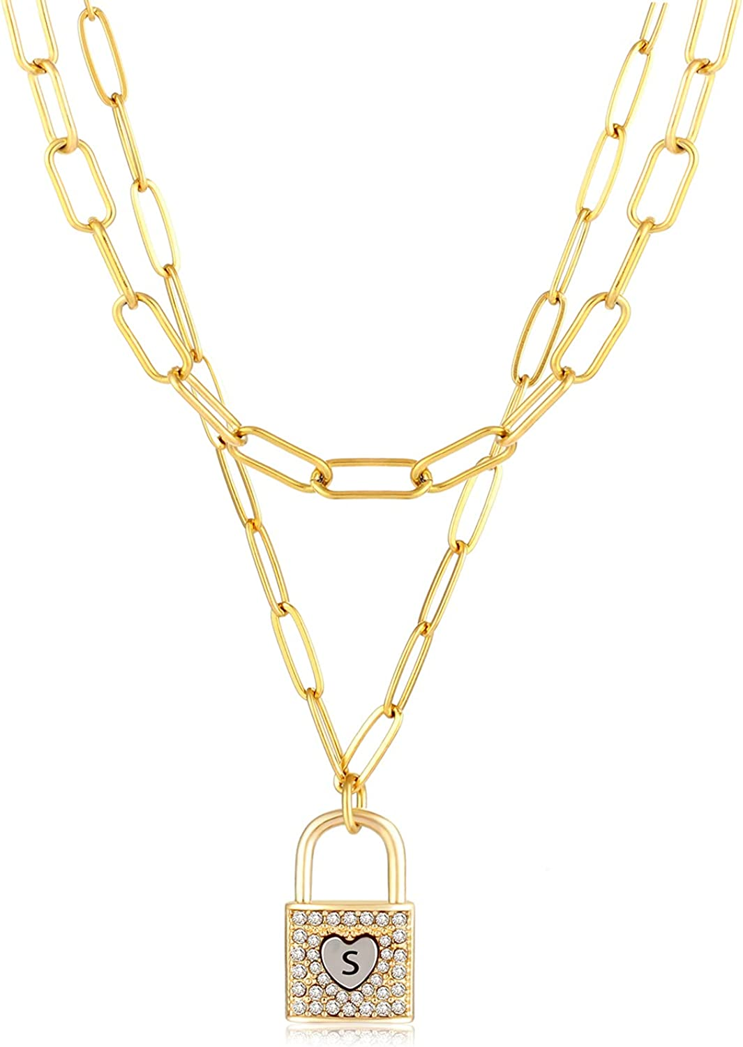 POSHFEEL Initial Lock & Heart Sharp Pendant Necklace for Women, 14K Gold Double Layer Dainty Paperclip Link Chain for Girls Jewelry