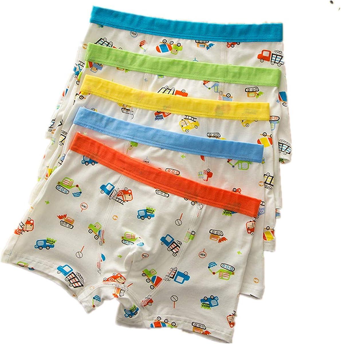 FOFJR 1-10 Years Cotton Underwear Boys Toddler Boxer Briefs Underwear Mix Color 5 Pack