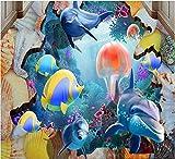 Calcomanías Murales Removibles De Vinilo Suelo De Vinilo Murales De Pared 3D Papel Tapiz Peces De Mar Coral Medusas Delfines Murales De Habitación De Suelo 3D Papel Autoadhesivo-250 * 175Cm Art Livi