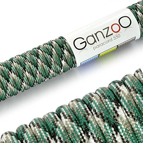 Ganzoo Paracord 550 Corde pour Bracelet Laisse Collier Nylon Corde 30 Mètres Vert