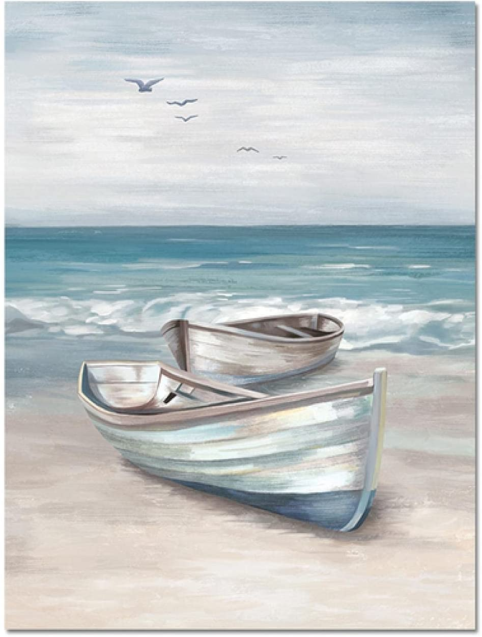 Beach Wall Art Canvas Painting Memphis Mall Boat Blue Posters Our shop OFFers the best service Prints Bath And