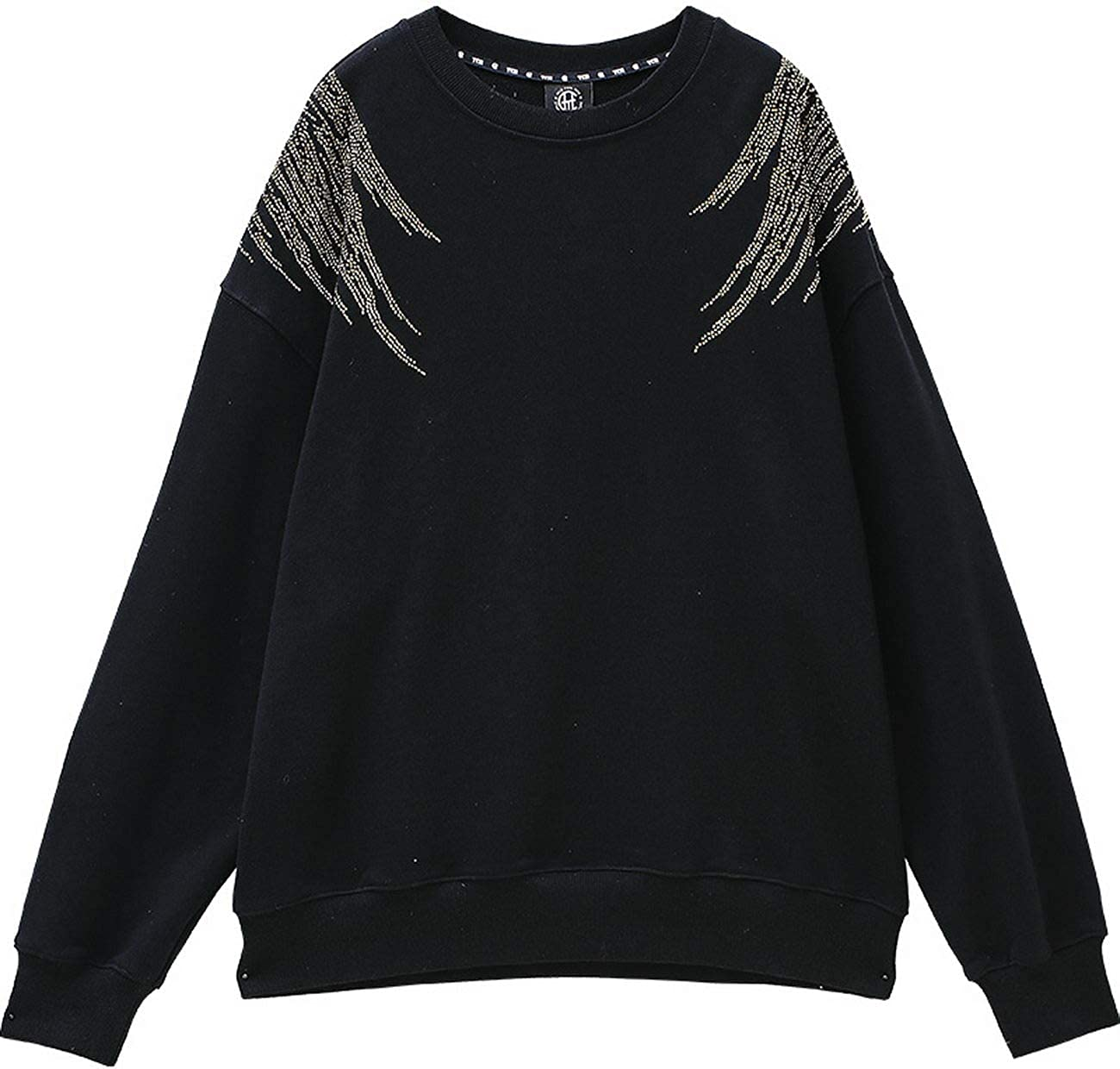 Light Luxury Tide Brand Big Wings hot Beads Loose Casual Sweater Men and Women T202116019