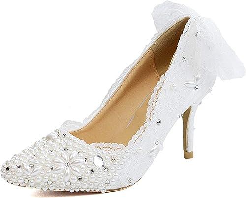 Hhor Dos Dentelle Blanche Bowknot perlé Blanc Occasion Occasion Occasion spéciale Pompes de Mariage mariée UK (Couleuré   -, Taille   -) d01