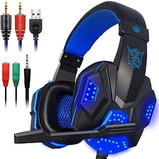 Audífonos Gamer - Pesoo Auriculares para Juegos con Micrófono para PS4, Switch, Xbox One, PC, Mac con Graves Estéreo, Sonido Envolvente, Luz LED y Función de Cancelación de Ruido