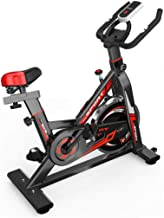 Indoor Exercise Bike, Stationary Cycling Bicycle with Heavy Flywheel and Resistance Home Gym Adjustable Belt Drive Workout...