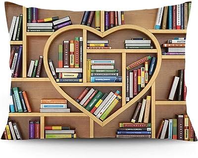 "GULTMEE Throw Pillow Cushion Cover, Sweet Digital Drawn Love Education Concept Wooden Bookshelves Shape as Heart Print, Decorative Standard Queen Size Printed Pillowcase, 14""x20""."