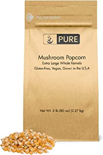 Mushroom Popcorn Kernels (5 lb) by Pure Organic Ingredients, Gourmet Popcorn, Gluten Free, Vegan, Ideal for Caramel Corn & Popcorn Balls, Eco-Friendly Packaging (Also in 15 lb)