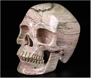 "Skullis 5.0"" Pink and Black Rhodonite Super Realistic Crystal Skull, Hand Carved Gemstone Fine Art Sculpture, Reiki Healin..."