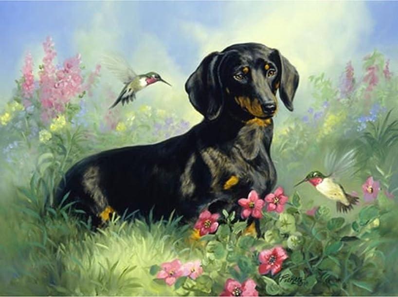 21secret 5D Diamond Diy Painting Full Drill Handmade Black Labrador Dog Lying on Grass with Flower Bird Cross Stitch Home Decor Embroidery Kit