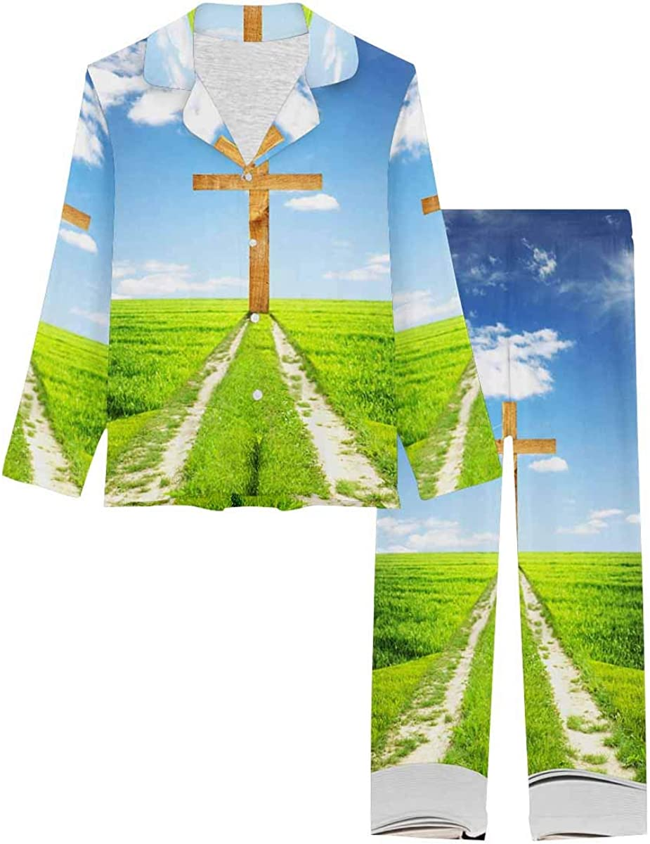 InterestPrint Long Sleeve Button Down Nightwear with Long Pants Open Bible with Grass and a Way Walking Towards a Cross