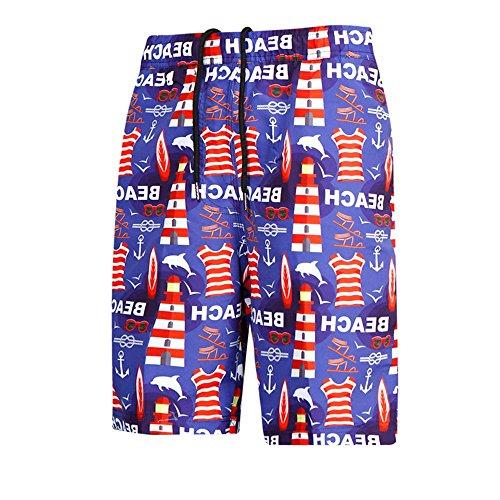 Pantalones de Playa para Hombre Pantalones Cortos Frescos de Verano para Hombres Patrón de Faro Pantalones Sueltos de Playa de Secado rápido para Surfear natación Deporte acuático Fiesta en l
