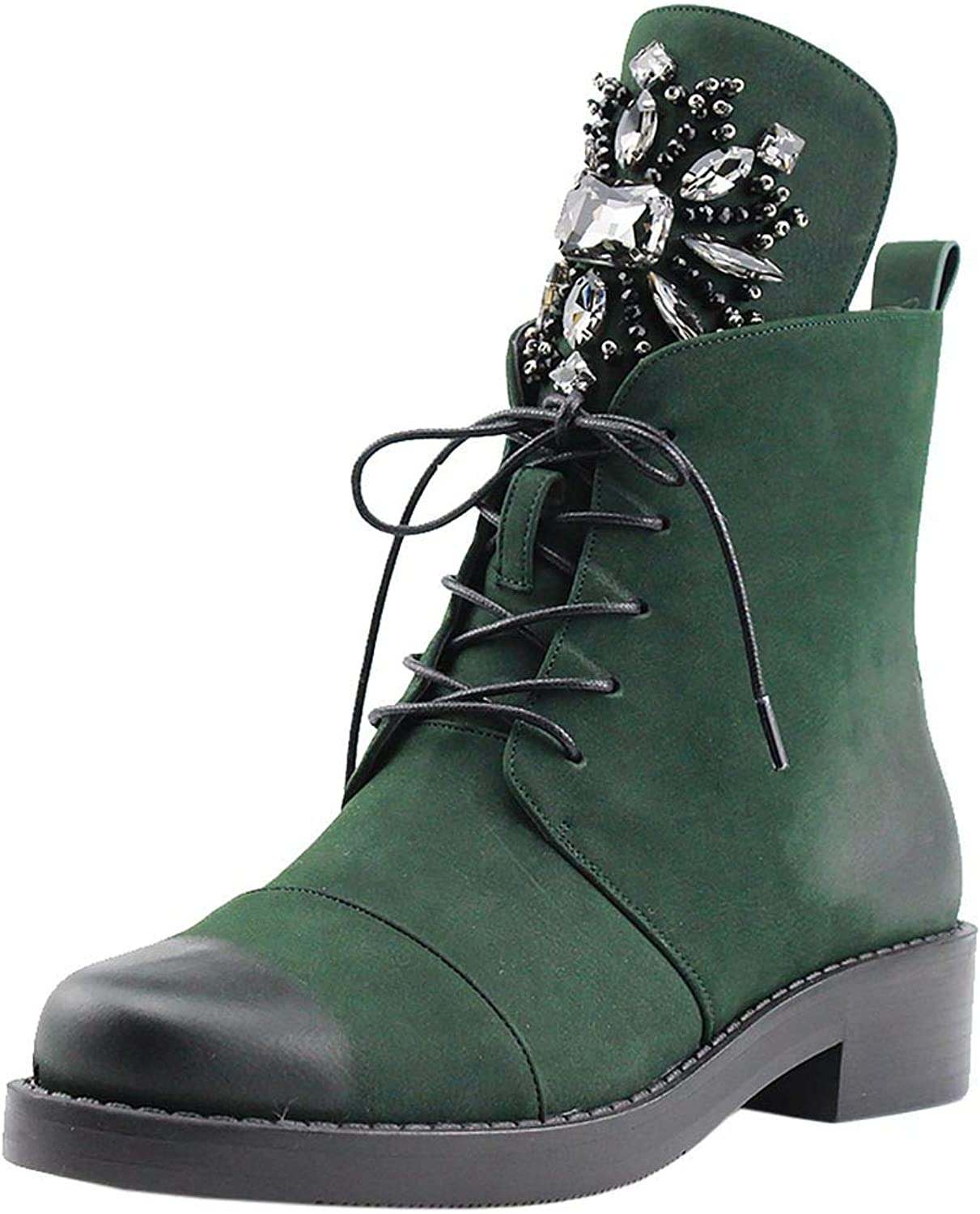 Kaloosh Womens Vegant Winter Boots Block Low Heels Retro Rhinestone Lace-up Platform Booties