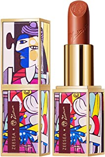 ZEESEA Matte Lipstick Genius Picasso Series 24 Hour Dating Makeup Plump Lips Lustrous Nourishing Non Sticky Refreshing Luxury Silky Stain Long Lasting Red Lipstick,0.13 Ounce,#916 Crazy Mary