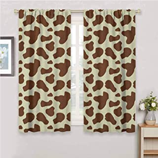 Cow Print Light Curtain Cattle Skin with Brown Spots Agriculture Cow and Oxen Hide Camouflage Pattern Kids Curtain White Brown 72 x 72 inch