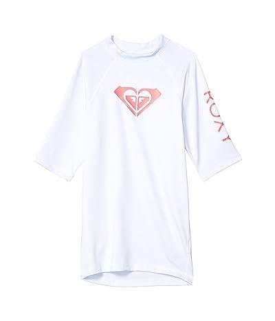 Roxy Kids Whole Hearted Short Sleeve Rashguard (Big Kids) (White) Girl