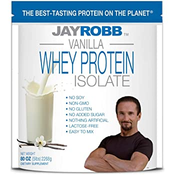 Jay Robb Whey Isolate Protein Powder, Low Carb, Keto, Vegetarian, Gluten Free, Lactose Free, No Sugar Added, No Fat, No Soy, Nothing Artificial, Non-GMO, Best-Tasting (5 Pound, Vanilla)