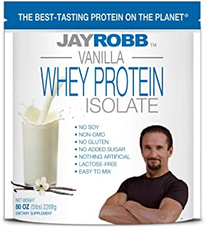 Jay Robb Whey Isolate Protein Powder, Low Carb, Keto, Vegetarian, Gluten Free, Lactose Free, No Sugar Added, No Fat, No Soy, Nothing Artificial, Non-GMO, Best-Tasting (80 oz, Vanilla)
