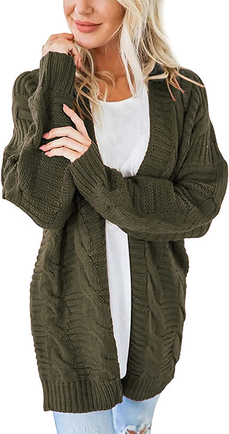 GIGILAUGH Women's Open Front Cable Knitted Cardigan Fall Chunky Casual Sweater Coats