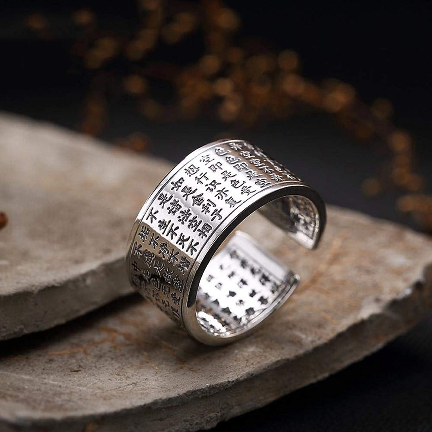 DTZH Rings Jewellery RingS999 Sterling Silver Buddhism Wisdom Paramita Male and Female Couples Ring Give it to Dear People